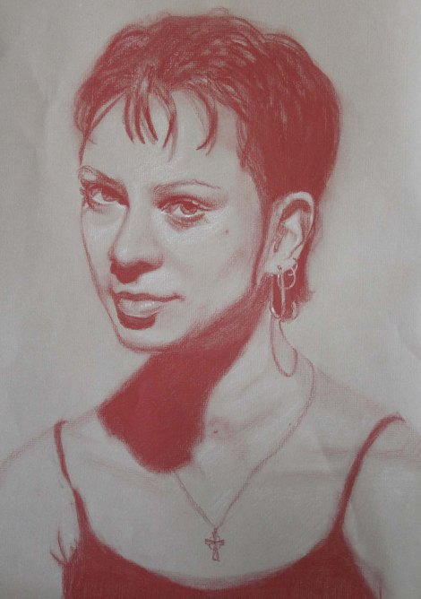 Portrait for Class - CarbOthello Pencils on Velvet Grey Paper